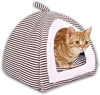 AFDK Casa de carpa para gatos autocalentable Cueva de iglú plegable 2 en 1 con almohada de cojín extraíble Triángulo suave Camas para mascotas Cesta, azul, s,café,Grande