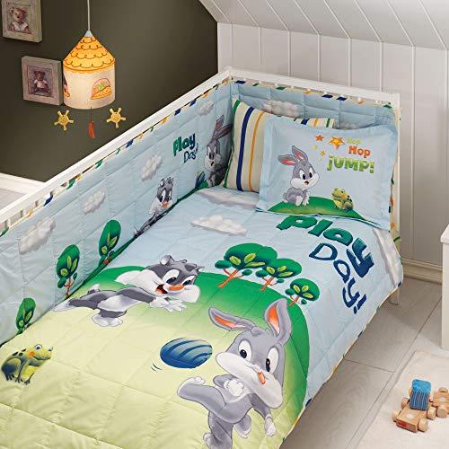 Juego de ropa de cama para bebé, 100% algodón, 5 piezas, con licencia de Sylvester and Bugs Bunny