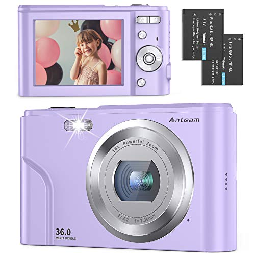 Digital Camera Full HD 1080P 36MP 2.4 Inch Vlogging Camera with 16X Digital Zoom, Point and Shoot Camera Pocket Camera Compact Camera with LED Fill Light for Kids/Teens/Students/Beginners (Purple)