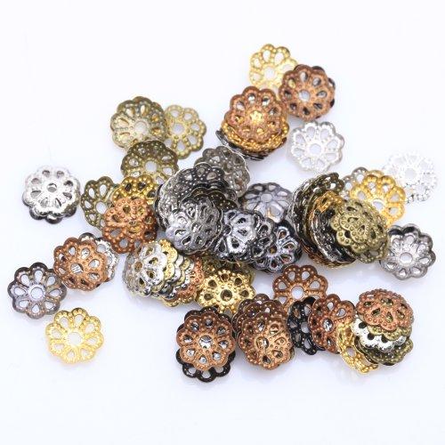 I LOVE DIY 500pcs- Apprêt COUPELLES Perles Fleur Metal pour création de Bijoux et Les Loisirs créatifs (Couleur mélangée)