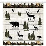 JAWO Wild Animal Duschvorhang für Badezimmer, Bär & Reh im Wald Sonnenuntergang auf Holzplanke, Stoff Set mit 12 Haken Badezimmer Vorhang Wasserdicht Badvorhänge Vorhang, 175,3 x 177,8 cm