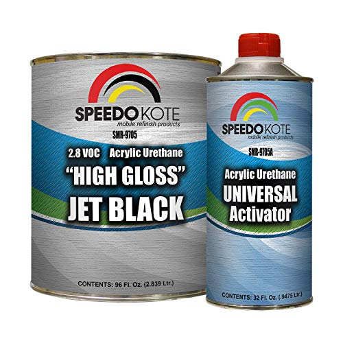 Speedokote High Gloss Jet Black 2K Acrylic Urethane, 3:1 Gallon Kit w/Activator, SMR-9705-M