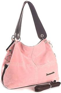 JNML Handtasche weibliche Tragetaschen Damen Schulter Messenger Top-Griff Taschen Soft Cord Vintage Einkaufstasche, Pink, ...