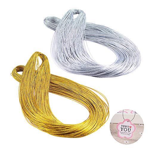 100m Gold Schnur und 100m Silber Metallic Kordel für Basteln, Geschenkverpackung, Etikettieren, DIY Perlen, Schmuckherstellung, Glänzende Oberfläche