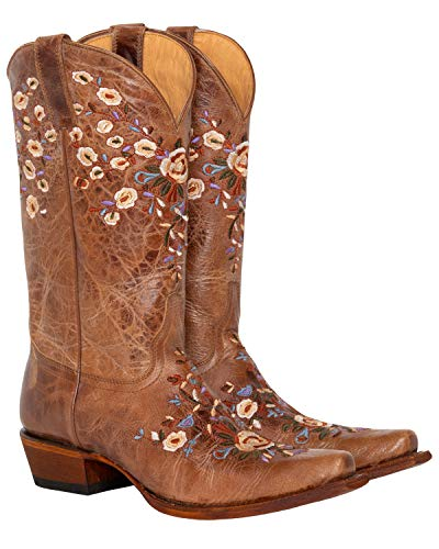 Shyanne Women's Floral Embroidered Western Boot Snip Toe Brown 8.5 M US