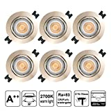 EACLL Foco Empotrable LED GU10 Blanco Cálido 2700K 5W Ultrafino Innovador Focos de Techo, IP44 Puede Utilizar en Baño Níquel Mate Downlight 36 °, Incluye Bombillas y Portalámparas. Pack de 6 sets