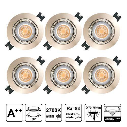 EACLL Foco Empotrable LED GU10 Blanco Cálido 2700K 5W Ultrafino Innovador Focos de Techo, IP44 Puede Utilizar en Baño Níquel Mate Downlight 36 °, Incluye Bombillas y Portalámparas. Pack de 6 sets