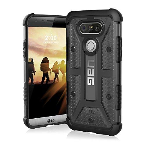Urban Armor Gear Plasma Hülle für das LG G5 / G5 SE Handyhülle nach US-Militärstandard (Verstärkte Ecken, Sturzfest, Antistatisch, Vergrößerte Tasten) - transparent (dunkel)