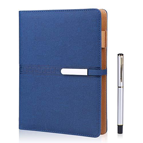 Fobozone Carnet en cuir A5 rechargeable - 200 pages épaisses - Agenda ligné classique avec poche et porte-stylo - Meilleur cadeau