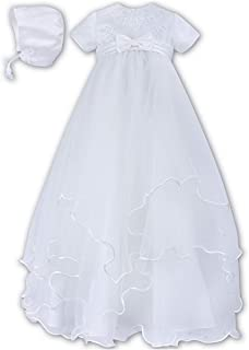 Sarah Louise White Embroidered Bodice & Tiered Tulle w/Bonnet