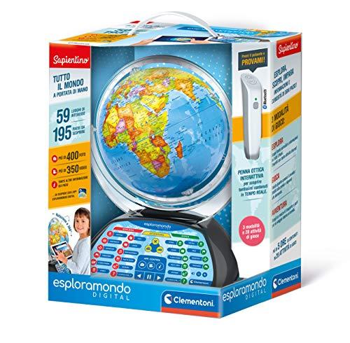Clementoni - 12097 - Sapientino - Explora Digital - Globo Educativo Interactivo - Globo terráqueo para niños con bolígrafo Interactivo - Juego Educativo de 7 años +