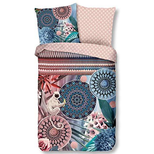 HIP Satin Wende-Bettwäsche Zoya 6689 Reine Baumwolle Spitzenornamente und Mandalas zum Träumen Bettwäsche-Set mit Blumen und Bordüren in Pastellfarben 135 cm x 200 cm Rose