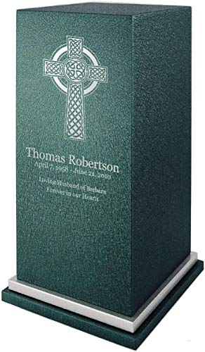 Personalized Engraved Celtic Cross Cremation Urn for Human Ashes-Made in America-Handcrafted in The USA by Amaranthine Urns-Eaton SE- Adult Funeral Urn (up to 200 lbs Living Weight) (Forest Green)