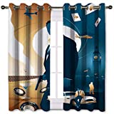 Cortinas aisladas sin tiempo para morir 007 Artwork Character Abstract Art Set de 2 paneles (106 x 115 cm)