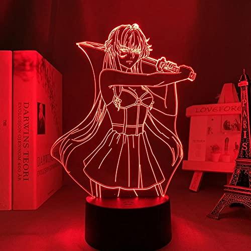 Lámpara LED 3D ilusión ilusión lámpara de escritorio Anime japonesa luz Toekomst Dagboek Yuno Gasai lamp,para niños Dormitorio Decoración Luz nocturna de cumpleaños Gadget