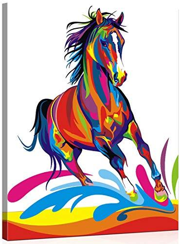 WISKALON Pintar por Numeros, DIY Pintura acrílica Kit para Principiantes Adultos y Niños - Caballo Colorido 16 * 20 Pulgadas con Pinceles y Pinturas DIY Pintura al óleo (con Marco de Madera)