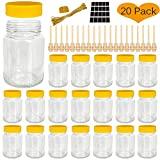 Syntic 12 oz Empty Bottles for Honey, Glass Honey Jars with 4.2'' Wooden Honey Dipper Sticks,...