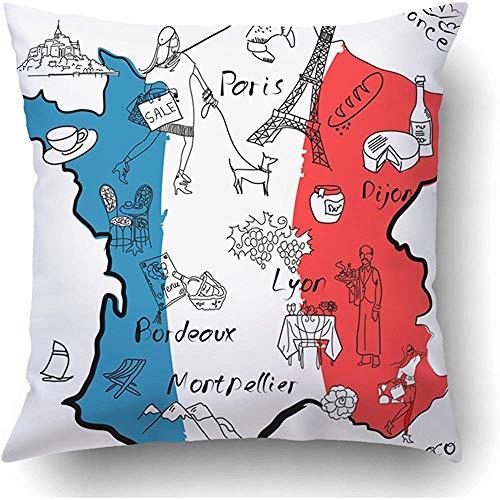 Moily Fayshow Fundas de Cojines Mapa francés francés de Francia Cosas en Las Que Las Diferentes regiones Son Famosas por la Funda de Almohada de Vino Red Language Language 45 X 45 cm