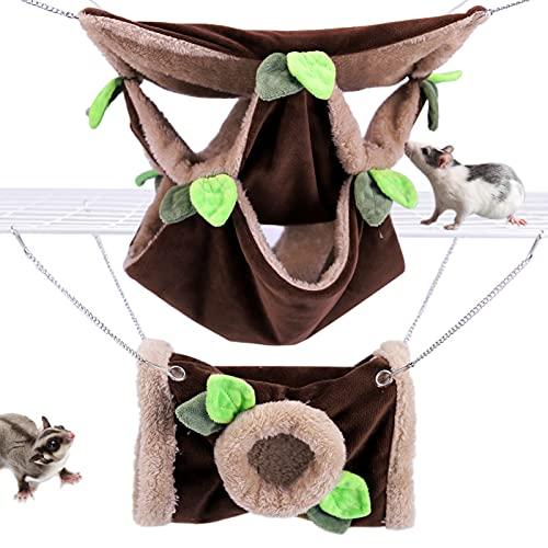 LeerKing Kleintier Hängematte und Kuscheltunnel 2er Pack warmes Hängebette Wald Thema Spielzeug Set Käfig Nest Zubehör für Nagetiere Ratten Mäuse Chinchilla Hamster Kleintiere