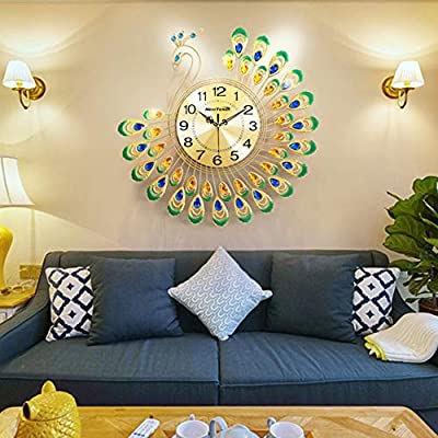 NEOTEND Modern Wall Clock Peacock Non Ticking Large Decorative Wall Clock for Bedroom Silent Clock