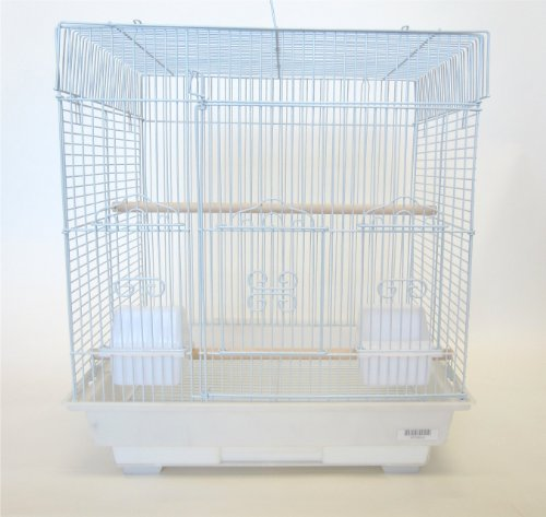 YML 3/8-Inch Bar Spacing SquareTop Small Bird Cage, 18-Inch by 14-Inch, White