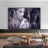 YuanMinglu Arte Moderno de la Pared póster y Grabado Lienzo Pintura Talla de Madera Retrato Femenino decoración de la Sala Pintura decoración del hogar Pintura sin Marco 40x60 cm