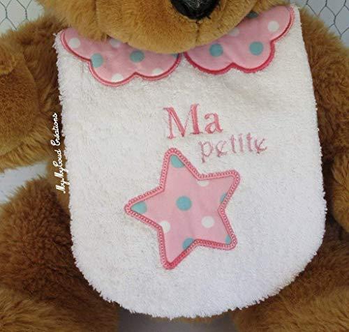 Bavoir bébé brodé ma petite étoile Création Fait Main