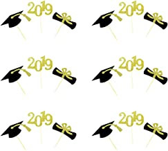 BESTONZON 24PCS 2019 Graduation Cupcake Toppers Congrats Grad Cake Graduation Party Decoration (Mixed Color)