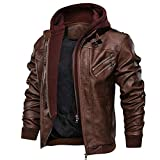 FEDTOSING Leather Bomber Jackets for Men Pilot Jacket with Hood Cycle Motorbike Jacket Stylish...