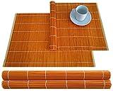 Juego de 4 manteles individuales de bambú de 30 x 45 cm, color naranja