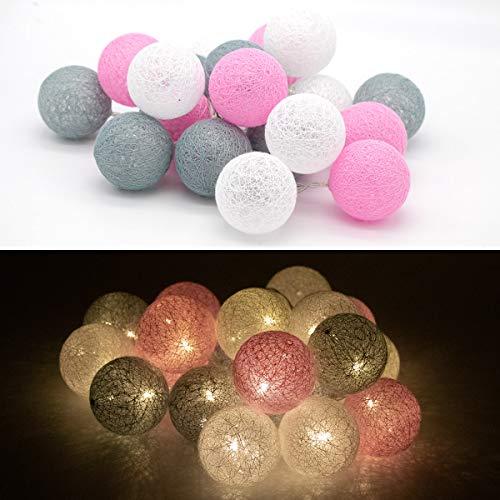 Tronje LED 20 Bolas de Algodón Luces 6cm 4h Temporizador 3,8m Guirnalda de luz Rosa-Gris funciona con Pilas