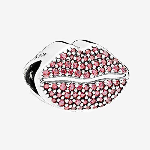 pandocci 2018de San Valentín Día Big Mouth Kiss más encanto auténtico 925plata esterlina para las mujeres pulseras DIY regalo