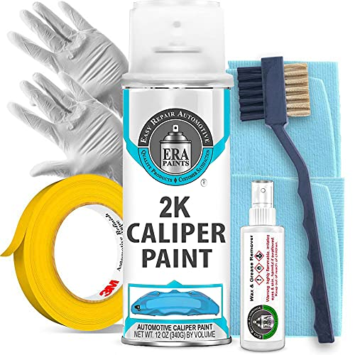 ERA Paints Brake Caliper Paint Kit With Omni-Curing Catalyst Technology - 2K Aerosol Glossy Finish High Temp Resistance And Extreme Durability Against Color Fade And Chemicals Like Brake Fluid