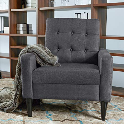 Modern Accent Chair, Living Room Arm Chairs, Single Sofa Upholstered Comfy Fabric Mid-Century Modern Furniture for Bedroom Office, Living Room, Dark Grey