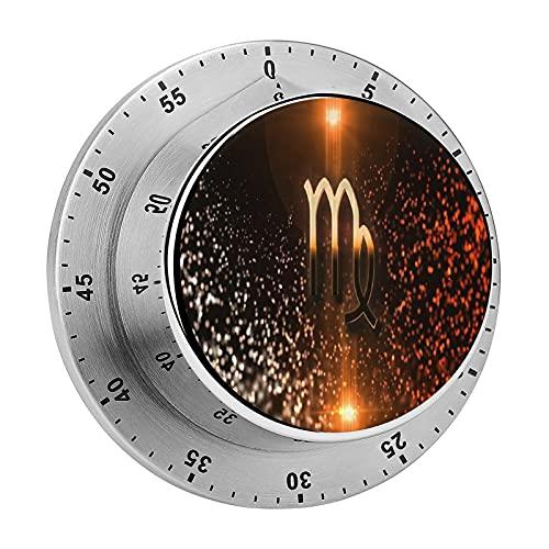 Reloj mecánico con logotipo Virgo con alarma de acero inoxidable, no requiere pilas, recordatorio de cuenta regresiva para cocinar, leer, hacer deportes