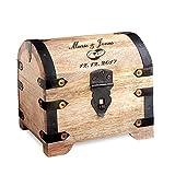 Casa Vivente Schatztruhe aus hellem Holz mit Gravur zur Hochzeit, Motiv Ringe, Personalisiert mit Namen und Datum, Verpackung für Geldgeschenke