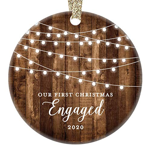 Engagement Keepsake Gifts 2020 First Christmas Engaged Ornament Newly Engaged Couple 1st Holiday Rustic Farmhouse Woodgrain Present 3