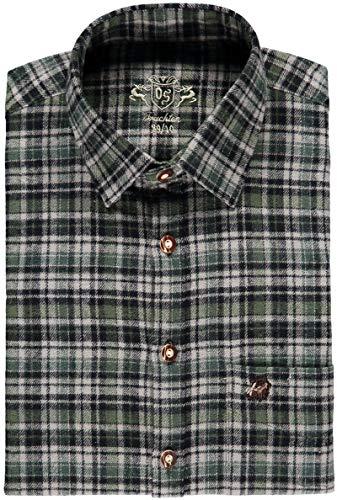 OS Trachten® Forsthemd mit Stickerei Trachtenhemd Langarm Oliv/grün Passform: Regular Fit von oefele.de Jagdhemd aus 100% Baumwolle Jägerhemd mit Brusttasche (47/48)