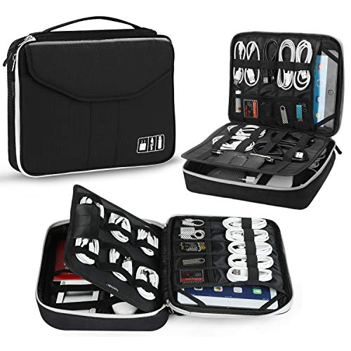Electronic Organizer, Jelly Comb Travel Organizer Bag Electronic Accessory Cases Cable Organizer Bag Double Layer for USB Cables, Charger, Power Bank, Phone, E-book Kindle, iPad or Tablet(up to 9.7'')