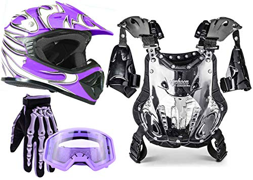 Typhoon Kids Pee Wee Offroad Gear Combo Helmet Gloves Goggles Chest Protector Motocross ATV Dirt Bike - Purple - Small