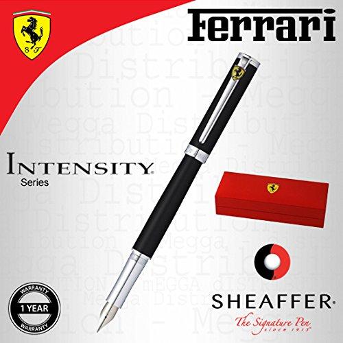 Sheaffer - Ferrari Intensity - Pluma estilográfica, estuche cromado, de acero inoxidable, punta media, color negro satinado, caja de regalo con eslogan de la marca