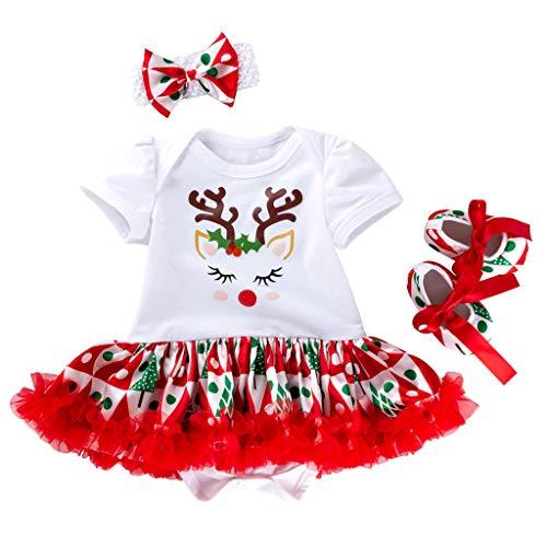 Pasgeboren Baby Meisjes Kerstmis Tutu Dress Up Feestjurken 3 Stks Outfits Kostuum Peuter Baby Korte Mouw Romper Rok Tutu Rok Prinses Jurken Met Hoofdband Schoenen Outfits Set 0-18 Maanden