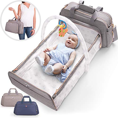 4-in-1 Convertible Baby Diaper Bag - Get Organized with Multi-Purpose Travel Baby Bag - Includes Bassinet & Changing Pad - Lightweight Design Wears 4 Ways - Spacious Interior - 19.6 x 10.2 Inches