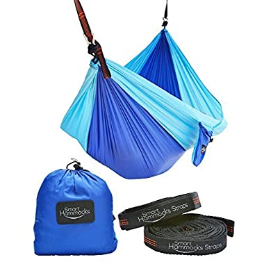 Smart Hammocks – Camping Hammock Plus Double Hanging Suspension Tree Straps and Carabiners – Portable Parachute Folding Light Weight Gear - Great for Hiking Backpacking Kayaking Indoor and Outdoor