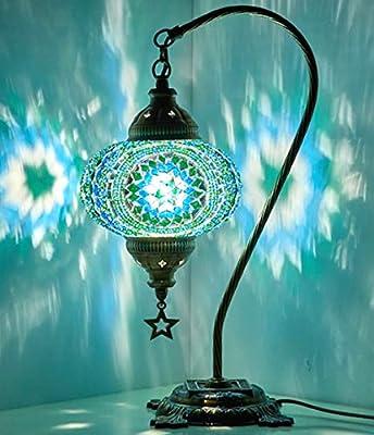 New BOSPHORUS Stunning Handmade Swan Neck Turkish Moroccan Mosaic Glass Table Desk Bedside Lamp Light with Bronze Base (Green)