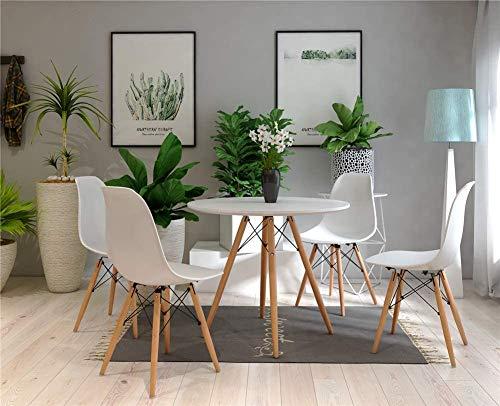 H.J WeDoo Skandinavien Esszimmergruppe mit Rund Esstisch und 4 Essstühlen Geeignet für Esszimmer Küche Wohnzimmer, Weiß