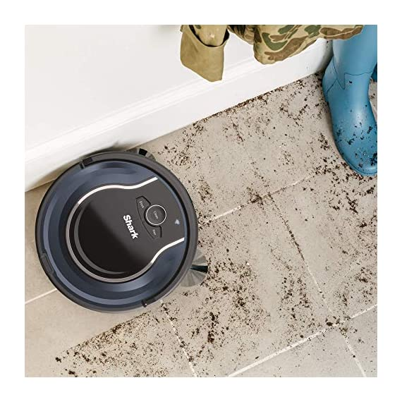 Shark ION Robot App-Controlled Robot Vacuum, RV761 - Black/Navy Blue (Renewed) 5 Schedule cleanings and control robot with Shark Clean(tm) app, Alexa, and Google Assistant. Powerful cleaning with more suction than Shark RV750. Multi-surface brushroll captures debris and hair on carpets and hard-floors.