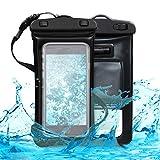 kwmobile Custodia Impermeabile Galleggiante - Borsa da Spiaggia per Smartphone con Waterproof Audio Jack - Beach Bag 17,5 x 9,5 cm con Fascia - Nero