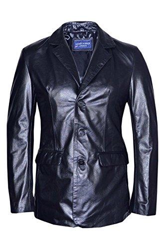 Smart Range - Classique Blazer Tailorouge Souple Réel Nappa Cuir Veste Manteau - Homme - Taille : 3XL - Couleur : Noir