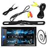 JVC 6.2' Inch Touch Screen Car CD DVD USB Bluetooth Stereo Receiver Bundle Combo with License Plate Mount Rear View Colored Backup Parking Camera, Enrock 22' AM/FM Radio Antenna